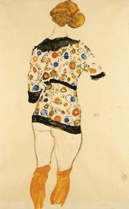 Standing Woman in a Patterned Blouse by Egon Schiele