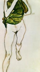 Striding Torso in Green Shirt, 1913 by Egon Schiele