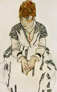 The Artist's Sister-In-Law in Striped Dress, Seated, 1917 by Egon Schiele