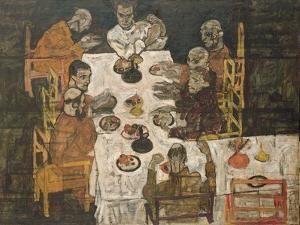 The Friends (Round Table), 1918 by Egon Schiele