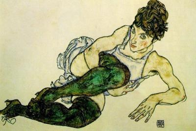The Green Stockings, 1917 by Egon Schiele