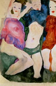 Three Girls by Egon Schiele