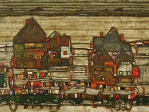 Two Blocks of Houses with Cloth Lines or the Suburbs (II), 1914 by Egon Schiele
