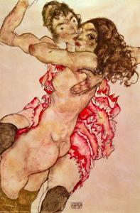 Two Girls Embracing, 1915 by Egon Schiele
