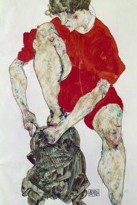 Weibliches Modell in feuerroter Jacke und Hose. 1914 by Egon Schiele