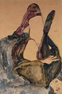 Woman with Raised Leg and Purple Stockings; Frau Mit Erhobenem Bein Und Lila Strumpfen by Egon Schiele