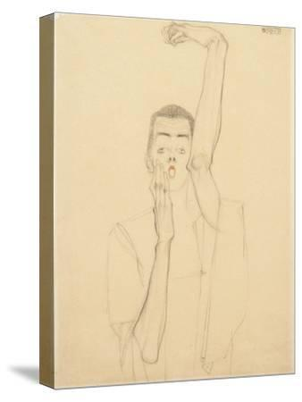 Young Man with a Raised Arm and Red Mouth; Selbstbildnis Mit Erhobenem Linken Arm Und Rotem Mund
