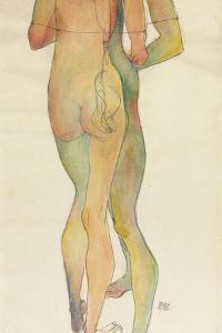 Zwei Stehende Akte, 1913 by Egon Schiele