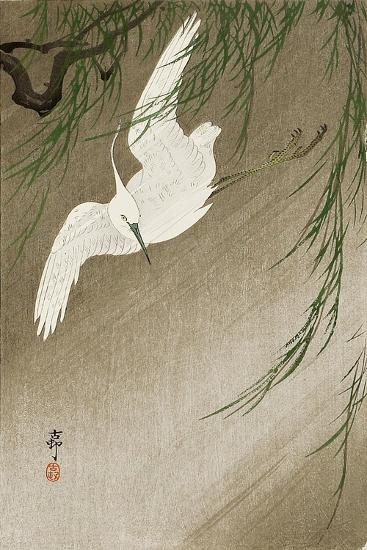 Egret in Storm-Koson Ohara-Giclee Print