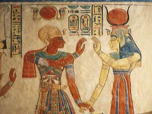 Egypt, Amonherkhopeshaf's Tomb, Painted Relief Depicting Pharaoh Ramses III in Front of Isis