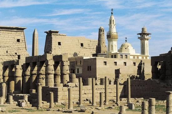 Egypt, Ancient Thebes Luxor, Temple of Amon, Ruins and Pylon of Ramses II in Background--Giclee Print