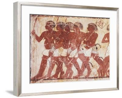 Egypt, Ancient Thebes, Shaykh 'Abd Al-Qurnah, Mural Painting of Nubian Mercenaries--Framed Giclee Print