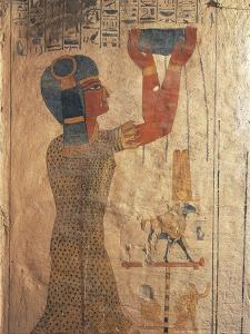 Egypt, Ancient Thebes, Valley of the Kings, Mural of Priest at Tomb of Ramses IX