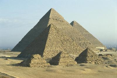 Egypt, Cairo, Ancient Memphis, Pyramids at Giza--Giclee Print