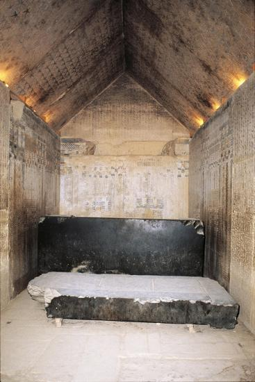 Egypt, Cairo, Ancient Memphis, Unas' Pyramid Interior, Burial Chamber and Sarcophagus--Giclee Print