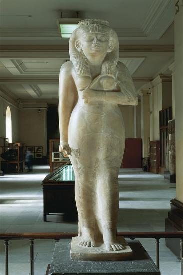 Egypt, Cairo, Egyptian Museum, Alabaster Statue of Amenirdis with Basalt Base, from Karnak--Giclee Print