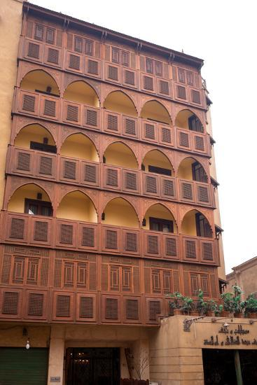 Egypt, Cairo, Islamic Old Town, Hotel Riad, Wooden Facade-Catharina Lux-Photographic Print