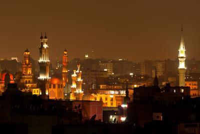 Egypt, Cairo, Islamic Old Town, Minarets, Illuminated-Catharina Lux-Photographic Print