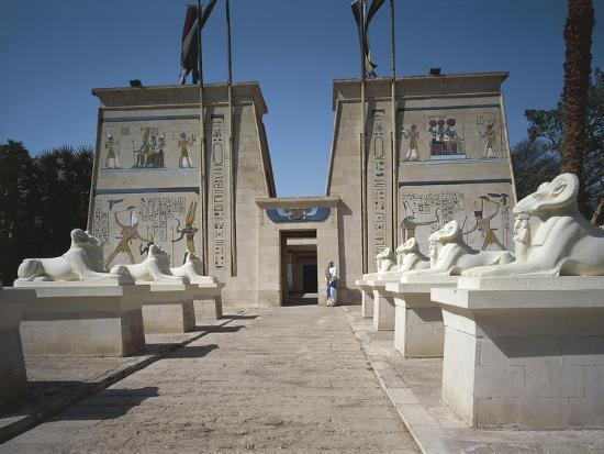 Egypt, Cairo, Replicated Temple and Ram-Headed Sphinxes at Pharaonic Village--Giclee Print