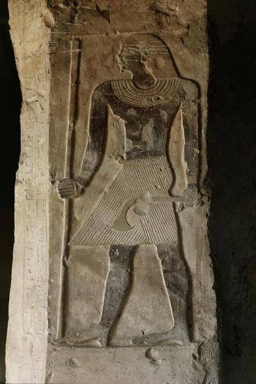 Egypt, El-Moa'Alla, Tomb of Ankhtifi, Painted Relief Depicting Pharaoh--Giclee Print