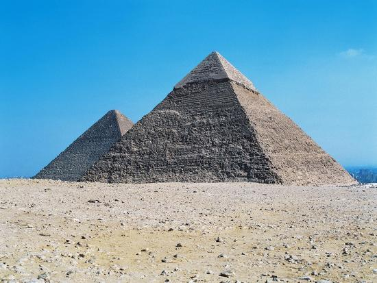 Egypt, Giza, Giza Pyramids, Pyramid of Chephren and Kheops Pyramid in the Background--Giclee Print