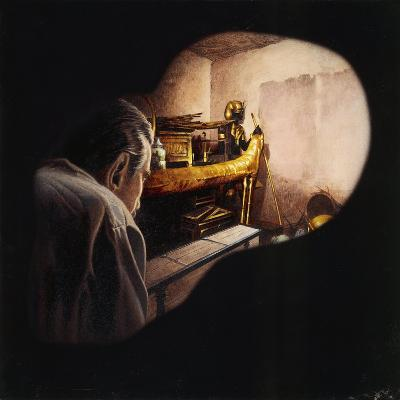 Egypt, Howard Carter Enters Burial Chamber at Tutankhamens Tomb--Giclee Print