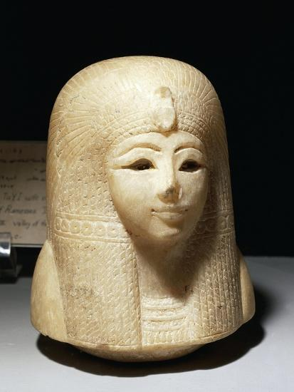 Egypt, Luxor, Ancient Egypt Museum, Canopic Jar Lid Representing Head of Queen Tuy--Giclee Print