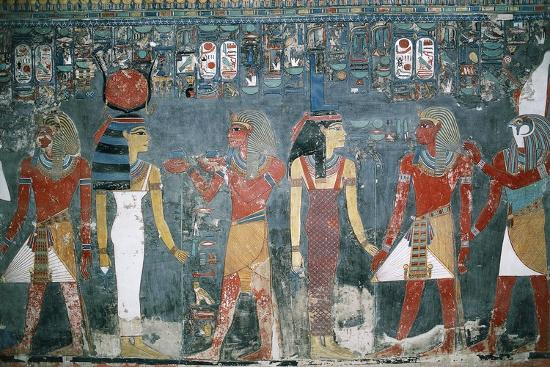Egypt, Luxor, Valley of the Kings, Tomb of Horemheb, Mural Painting--Giclee Print