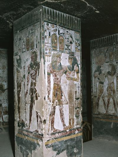 Egypt, Luxor, Valley of the Kings, Tomb of Seti I, Entrance with Frescoes--Giclee Print