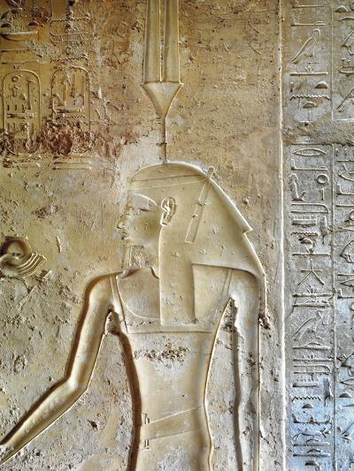 Egypt, Luxor, Valley of the Kings, Tomb of Seti II, Entrance Relief of Ra from Nineteenth Dynasty--Giclee Print