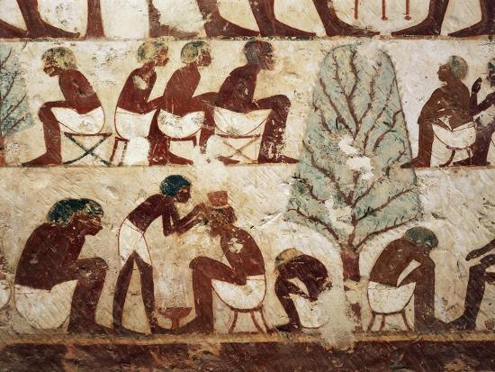 Egypt, Luxor, West Thebes, Sheik El Gurnak. Tomb of Usirhat, Barber, Details from Fresco--Giclee Print