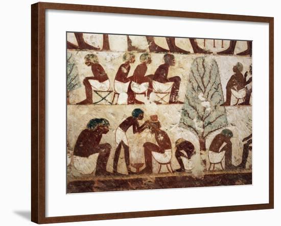 Egypt, Luxor, West Thebes, Sheik El Gurnak. Tomb of Usirhat, Barber, Details from Fresco--Framed Giclee Print