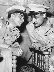 Egypt's Strongman Premier Muhammad Naguib Talking with Lieut. Col. Gamal Abdel Nasser