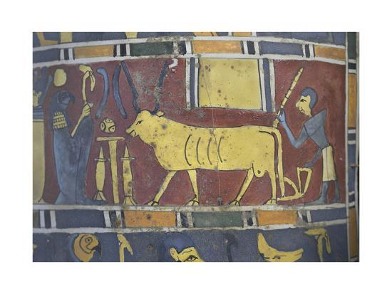 Egypt, Saqqara Necropolis, Detail of Cartonnage, Holy Bull Mnevi Led Towards God Ra-Harakti--Giclee Print