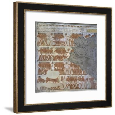 Egypt, Sheikh 'Abd Al-Qurna, Mural Paintings Showing Warriors in Tomb of Army General Tjenuny--Framed Giclee Print