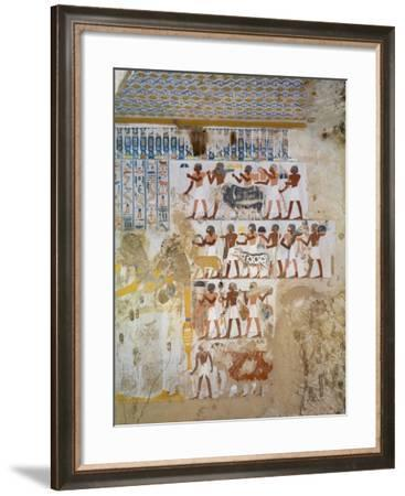 Egypt, Thebes, Luxor, Sheikh 'Abd El-Qurna, Tomb of Paser, Detail of Fresco--Framed Giclee Print