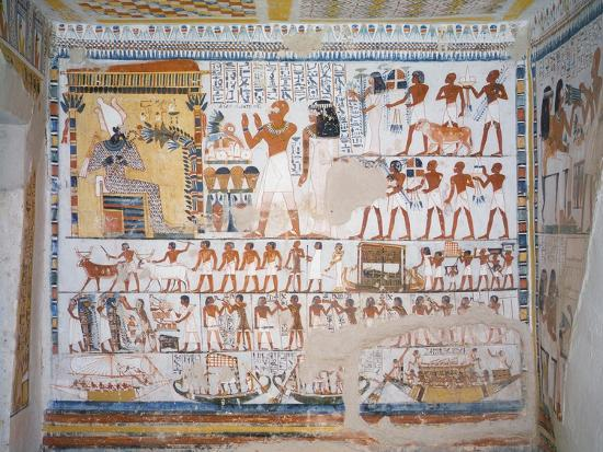 Egypt, Thebes, Luxor, Tomb of Pere Representing Deceased with His Wife Invoking God Osiris--Giclee Print