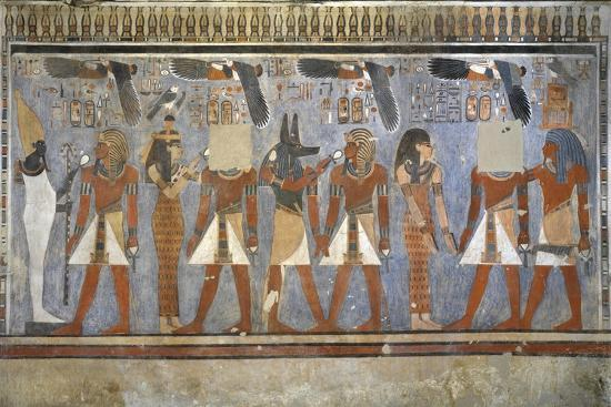 Egypt, Tomb of Amenhotep III, Mural Paintings of Pharaoh and Ma'at in Burial Chamber--Giclee Print