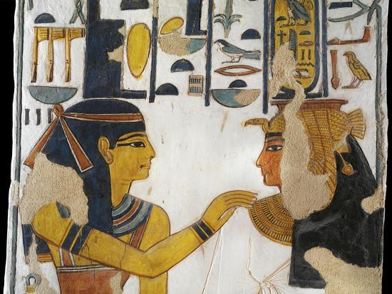 Egypt, Tomb of Nefertari, Mural Painting of Isis and Queen on Pillar in Burial Chamber--Giclee Print