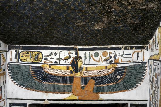 Egypt, Tomb of Nefertari, Mural Paintings of Goddess Ma'At with Spread Wings in Burial Chamber--Giclee Print
