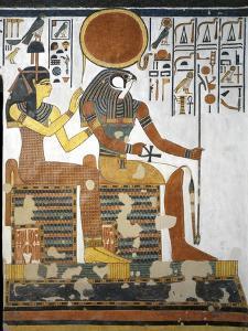 Egypt, Tomb of Nefertari, Vestibule, Mural Paintings, Gods Hathor-Imentet and Ra-Harakhty