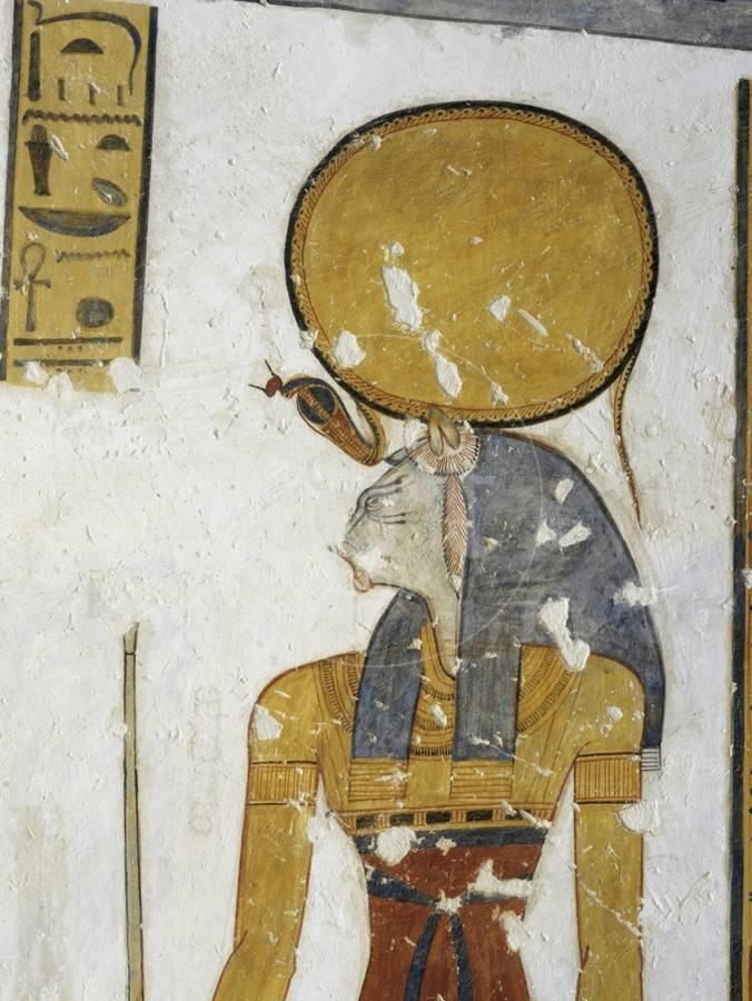 Egypt Tomb Of Prince Mentuherkhepeshef Mural Painting Of Cat Head