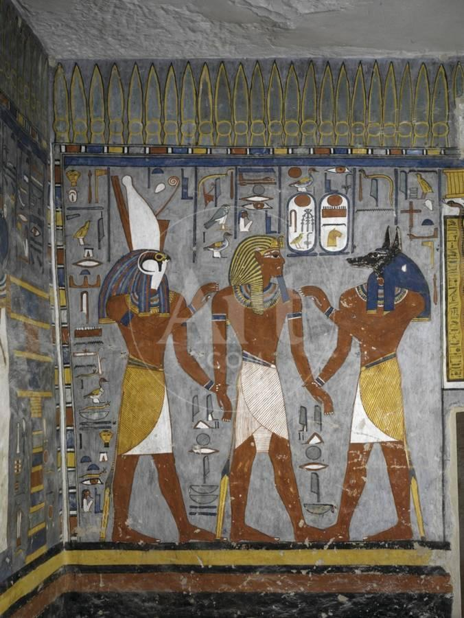 Egypt, Tomb of Ramses I, Mural Painting of Pharaoh Between Harsiesis and  Anubis in Burial Chamber Giclee Print by | Art com