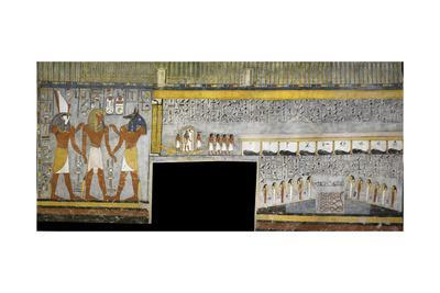 Egypt, Tomb of Ramses I, Mural Painting of Pharaoh Between Harsiesis and Anubis--Giclee Print