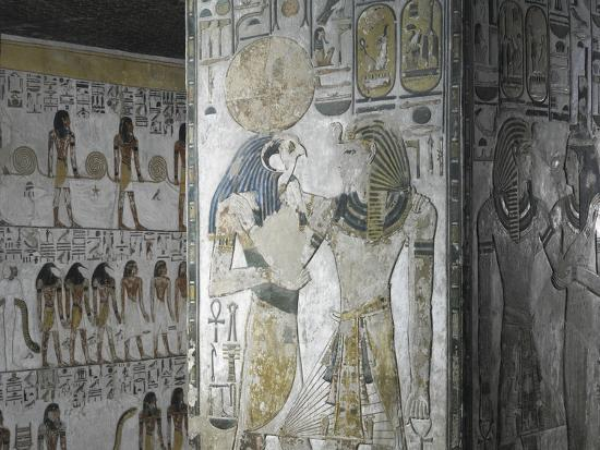 Egypt, Tomb of Seti I, Mural Paintings of God Ra and Pharaoh in Pillared Chamber from 19th Dynasty--Giclee Print
