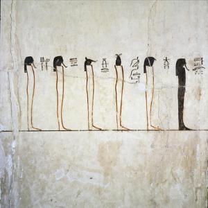 Egypt, Tomb of Thutmose III, Burial Chamber, Pillars, Mural Paintings, Illustrated Litany of Ra