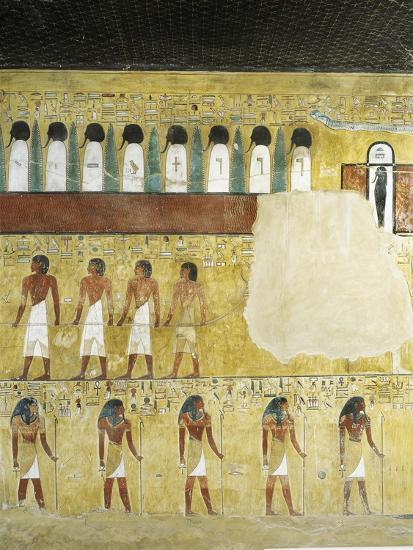 Egypt, Valley of the Kings, Tomb of Seti I, Mural Paintings in Burial Chamber from 19th Dynasty--Giclee Print