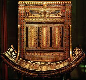 Ceremonial Chair of Tutankhamun, Detail of the Curved Seat and Back, New Kingdom, c.1325 BC by Egyptian 18th Dynasty