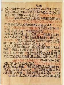 Fragment of the Ebers Papyrus, New Kingdom, c.1550 BC by Egyptian 18th Dynasty