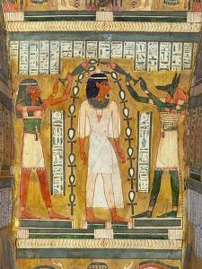 Libation of the Dead, Interior of the Sarcophagus of Amenemipet, Priest of the Cult of Amenophis by Egyptian 18th Dynasty